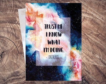 Universe Postcard Trust me, illustration A6, printing on recycled paper, eco, climate neutral, Cosmos, space, Galaxy, Galaxy