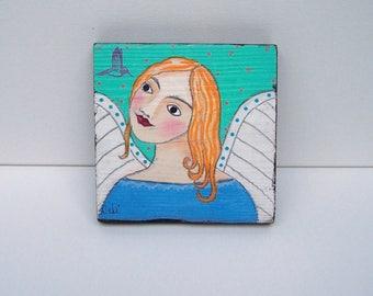 Folk Art Angel Painting Shabby Rustic Angel Painting