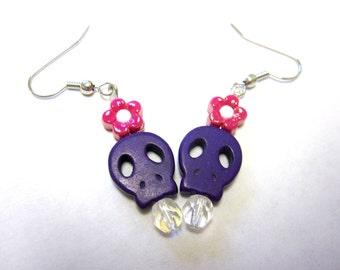 Teeny Tinys Sugar Skull Earrings Day Of The Dead Jewelry Purple Skulls & Flowers