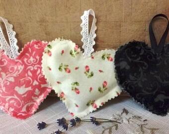 Valentine Dried Lavender Bud Filled Heart Shape Sachet Trio