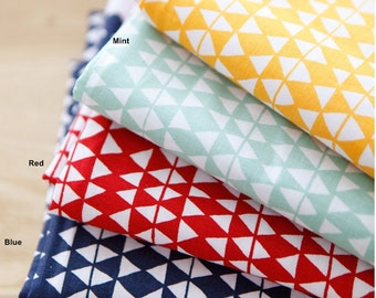 Cotton Fabric Triangle in 4 Colors By The Yard