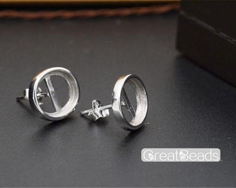 Earring Settings for 7x9mm/8x10mm/9x11mm/10x12mm Oval Cabochons White Gold Plated 925 Silver Blank Earring Studs EH03