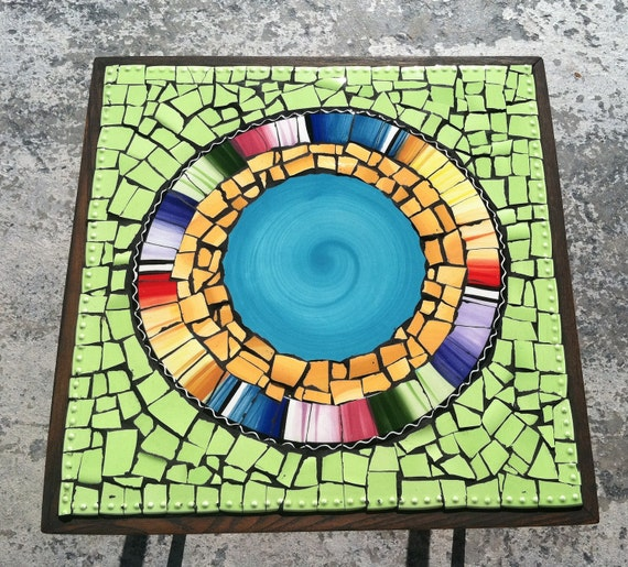Broken Tile Coffee Table: Items Similar To Mosaic Tile Art Retro Modern Round End