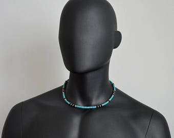 Native American necklace in. Mens necklace Indian jewelry in. Spiritual jewelry Surfer necklace Onyx & H turquoise necklace Valentine's gift
