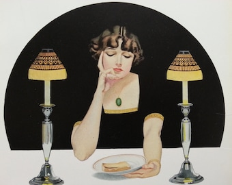 1912 Vintage print by C Coles Phillips - fadeaway girl woman between 2 lamps