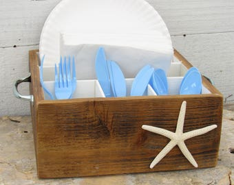 Napkin Holder Paper Plate Silverware Utensil Caddy Mason Jar & Inspiring Plate And Utensil Caddy Contemporary - Best Image Engine ...