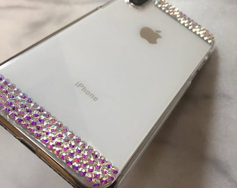 Exquisite Elegant Design For iPhone X 8 7 PLUS 6s Clear White Gold AB Crystal Diamond Made with Genuine SWAROVSKI Elements Simple Cover Case