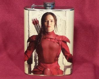 SALE 9.99 (was 19.99) Katniss Everdeen Hunger Games - 8 oz stainless steel flask
