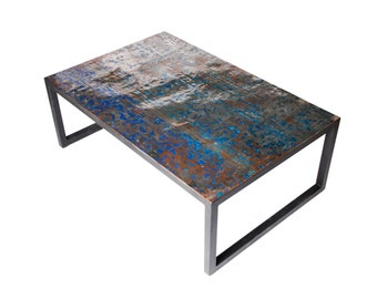 Flattened Recycled Oil Drum Coffee Table