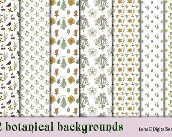 22 botanical backgrounds INSTANT DOWNLOAD digital paper pack floral  printable botany decoupage paper