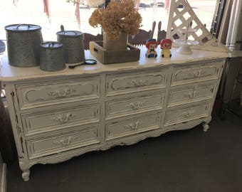 Elegant Vintage White French Empire Distressed Buffet Changing Table Media Stand  Bathroom Vanity Farmhouse Fixer Upper Style
