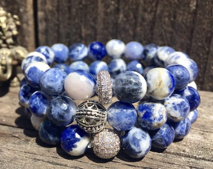 Sodalite Bracelet- Blue Bead Bracelet- Stack Bracelet- Gemstone Beaded Bracelet- Communication Jewelry- Gift for Her- Holiday Teacher Gift