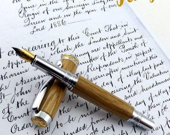 Wood Fountain Pen in English Oak - Wood Pen - Fountain Pen - Pen - Hand Made - Chrome - Wooden pen - 950