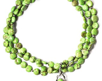 """Sterling Silver Mexico TA 161 Green Howlite Beaded 3 Strand Necklace 16"""""""
