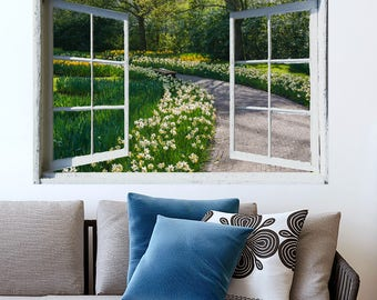 PRINT FILE-open window view- spring garden path, Holland- easy, do it yourself wall art