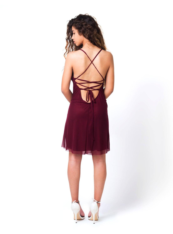 Burgunder-Kleid Party-Kleid rot Prom rot Brautjungfer Kleid
