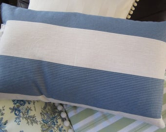 Throw pillow cover in wide blue and ivory stripe in various sizes