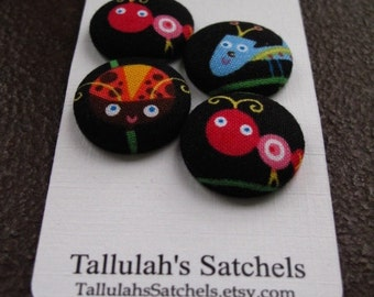 25% off SALEWearable Sew On Fabric Covered Buttons - Size 36 or  7/8 inches  Bugs