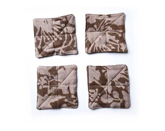 BROWN COASTERS Floral coasters neutral taupe napkin table linen shabby chic home block print dining table organic cotton Set of 4 - FLORAL