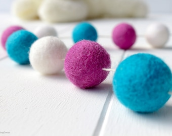 Wool Felt Ball Garland. Frozen Fun Pom Pom Garland. Girls Room Decor. Nursery Bunting. Birthday Party Garland. Princess Anna. Nursery decor