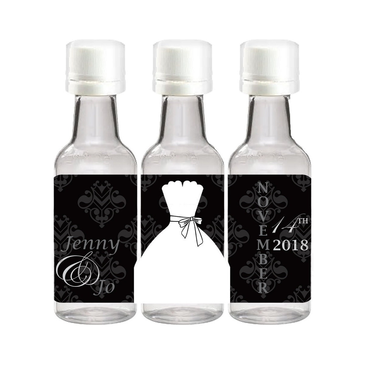 Bride and Groom Mini Liquor Bottle Labels Custom Labels