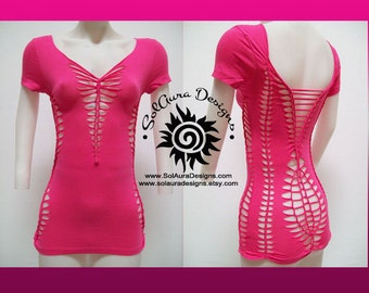 PRETTY in PINK - Size MEDIUM - Juniors / Womens Cut and Weaved Hot Pink Top, Yoga Wear, Beach Wear, Festival Wear, Burning Man Wear