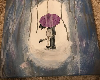 Kissing Under The Rain Painting
