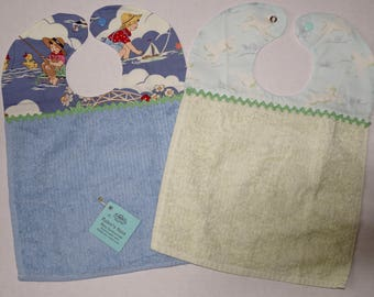 Set of 2 Baby Bibs - Cotton Terry - Lambs and Fishing