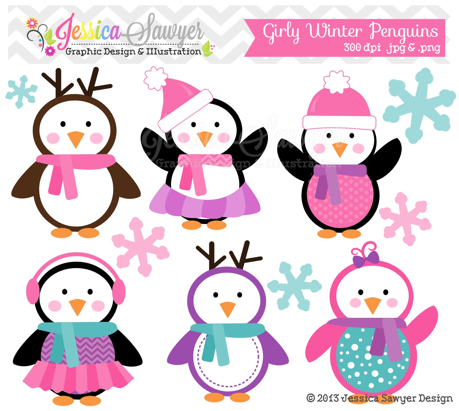 INSTANT DOWNLOAD girly winter penguin clipart holiday
