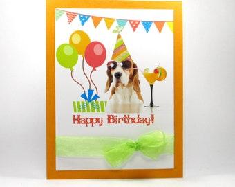 Birthday card for her, Happy Birthday cards, dog birthday card, funny birthday card, cute birthday card, cocktail, puppy birthday card