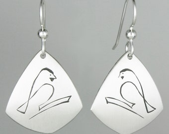 """Calligraphic Chickadee Earrings, Sterling Silver Kite-Shaped Discs, 1 1/2"""" long"""