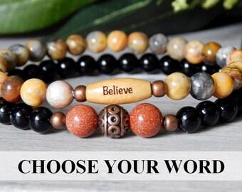 Believe Bracelet, Onyx Bracelet, Strength Bracelet, Inspiring Bracelet, Goldstone Bracelet, Black Bracelet, Word Bracelets, Beaded Bracelet