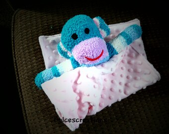 Baby minkey security blanket Lovey sock monkey blue pink ready to ship