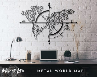 World map metal wall art etsy map of life metal world map metal wall decor metal wall art steel world map world map interior housewarming gift gumiabroncs Images
