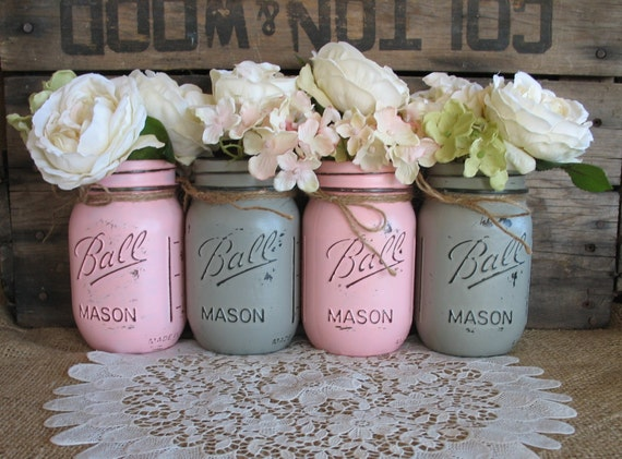 SALE Set of 4 Pint Mason Jars Ball jars Painted Mason