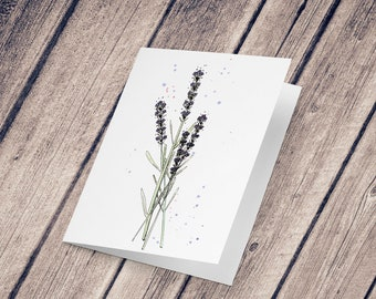 Wish card: Illustration reproduction painted in ink and watercolor, Lavender