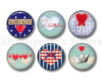Love and Heart Magnets - Refrigerator Magnets - Set of 6 - 1.5 Inch Magnets - Heart Kitchen
