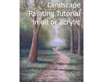 Landscape painting tutorial in oil or acrylic, how to a paint a forest scene, painting instructions, girl walking down a path, green forest