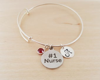 Number One Nurse - Silver Adjustable Bangle  -  Personalized Initial Bracelet - Swarovski Crystal Birthstone Jewelry - Gift For Her