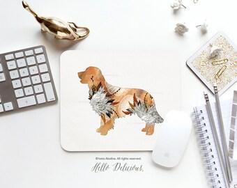 "Dog Mouse Pad ""Golden Retriever"" by Iveta Abolina Mousepad Mouse Mat Dog Mouse Pad Office Mousemat Rectangular Mousemat Mousepad Round 37."