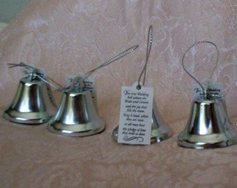 Wedding reception favors kissing bells, bridal accessories, DIY bride supplies, make your own favors, silver bells 2 dozen, table decoration
