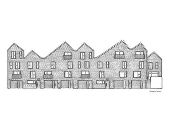 Little Kelham Houses Sheffield - A3 Illustration Print - Sheffield Gift - Sheffield Architecture - Black and White - Line Drawing