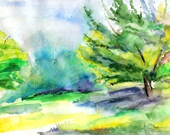 Summer watercolour Meadow painting Summer painting Meadow wall art Peaceful landscape Beautiful nature painting Spring watercolor painting