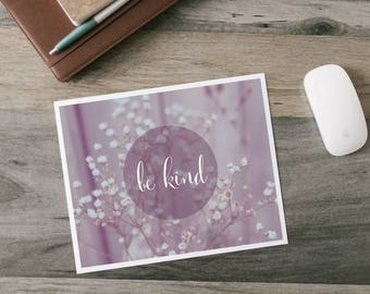 Be Kind - Word Art Print - floral simple purple muted nature quote art decor