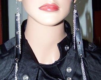 Jewelry, XL Earrings, Long Earrings, Long Chain Earrings, Leather Earrings, Long Leather Chains, Long Leather, Black Leather, Silver, Chain