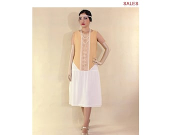 SALE - Art deco dress in dark beige and off-white, 1920s flapper dress, art deco fashion, Great Gatsby dress, Downton Abbey dress, 20s dress