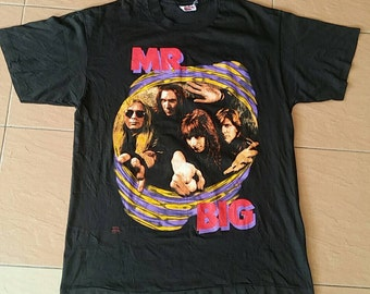 Vintage Mr big 90s tshirt spellout /Black/ m size/made in usa/rock band/90s band 3WPZlr