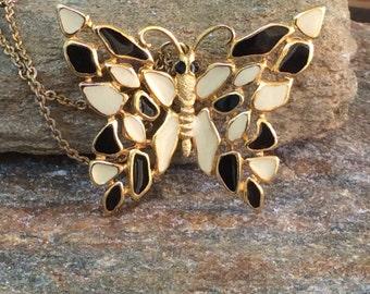 Butterfly Statement Necklace, Large Enamel Butterfly Necklace, Black and White Butterfly
