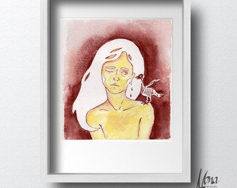 Watercolor painting woman, Original painting, Bird drawing, Skeleton illustration, Wall decor, Surreal art