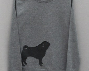 Leather Pug Jumper Grey Heather Lightweight Crew Neck Sweatshirt